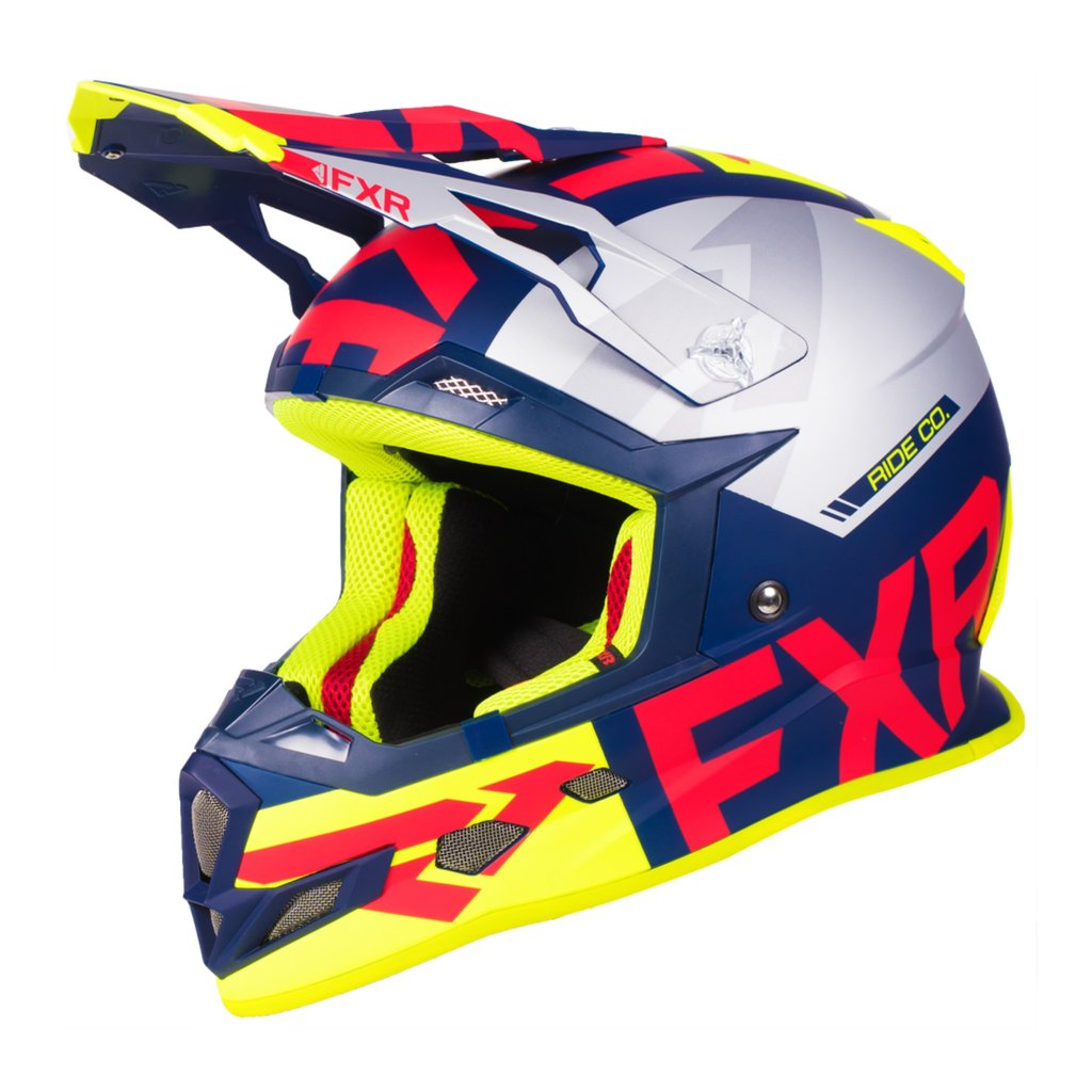 190607-4520 FXR Racing 2019 Boost Evo Motocross Helmet Navy Red Flo Yellow Silver Casque Enduro Crosshelm Downhill BMX