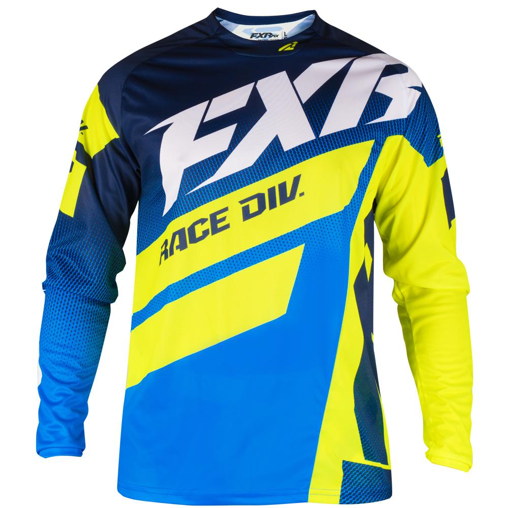 193303-4565 FXR Racing 2019 Clutch Podium MX Navy Blue Fade Flo Yellow Motocross Jersey Enduro Trikot Crosstrui Maillot Off-Road