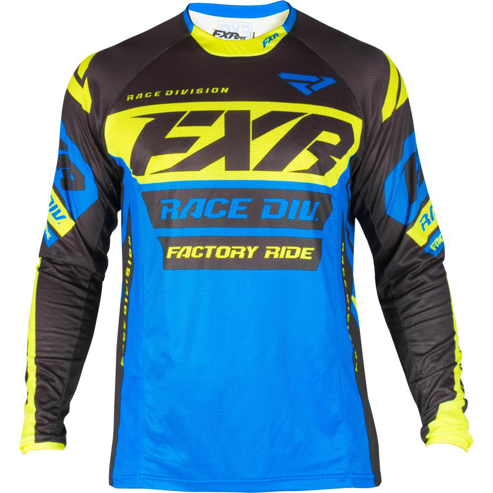 193305-4065 FXR Racing 2019 Revo MX Blue Black Flo Yellow Motocross Jersey Enduro Trikot Crosstrui Maillot Off-Road
