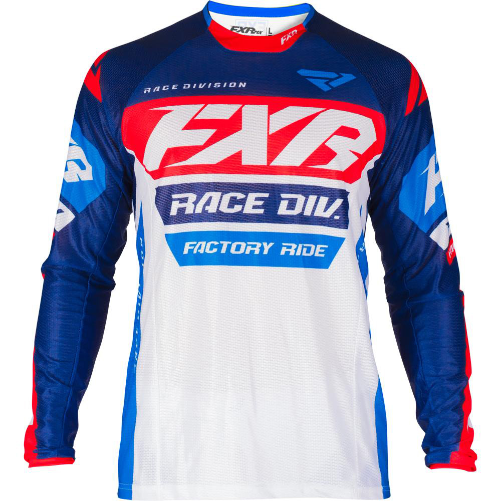 193305-4520 FXR Racing 2019 Revo MX White Navy Red Blue Motocross Jersey Enduro Trikot Crosstrui Maillot Off-Road