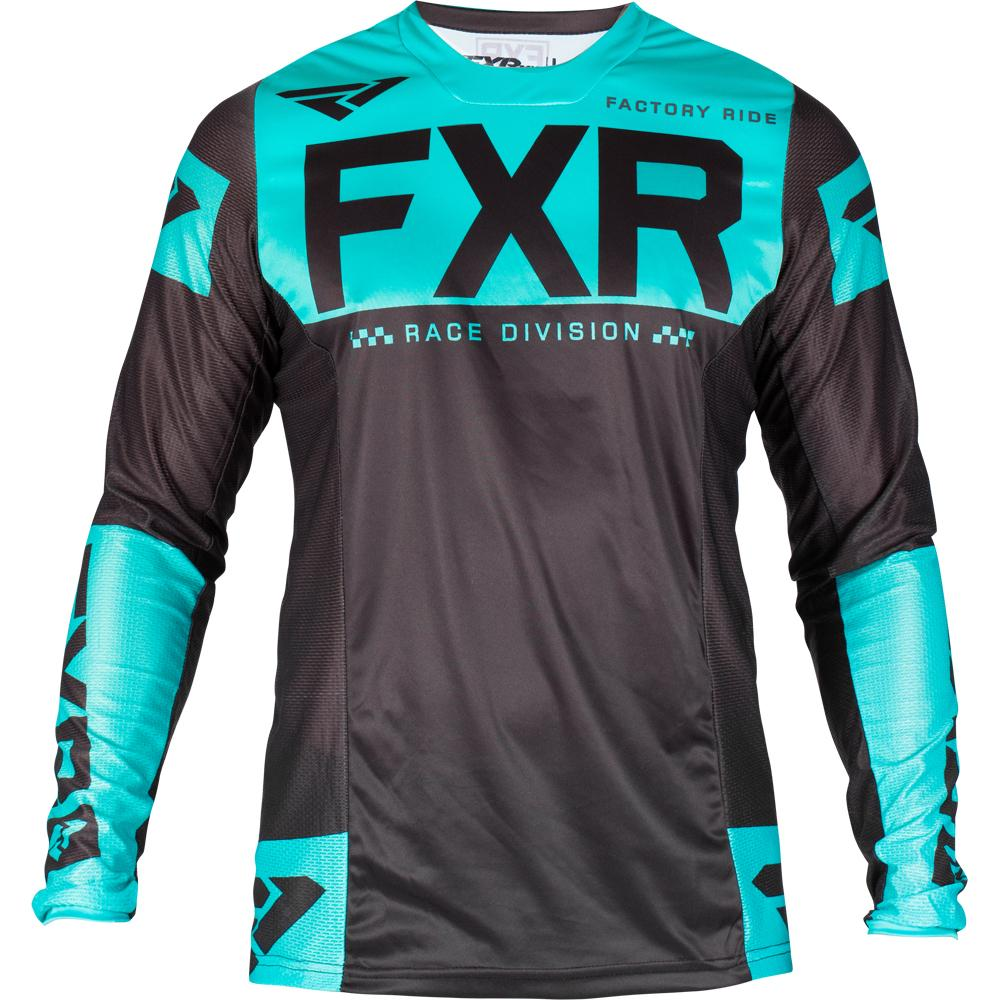193309-1052 FXR Racing 2019 Helium MX Black Mint Motocross Bmx Enduro Jersey Shirt Trikot Trui