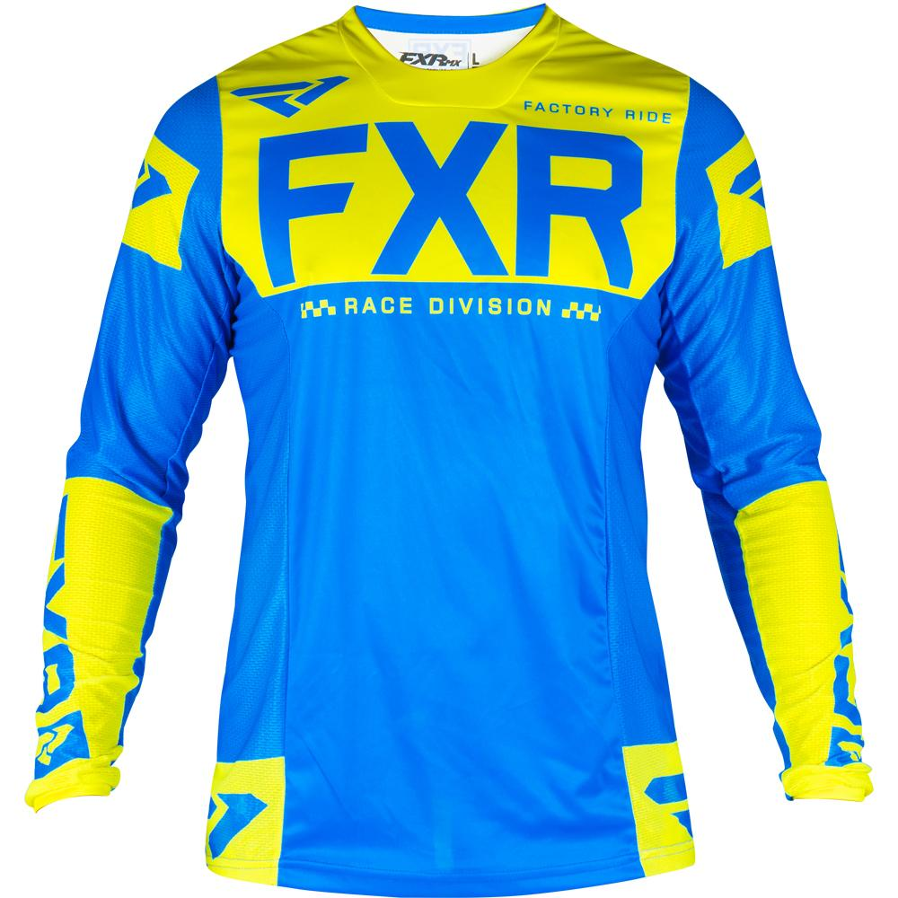 193309-4065 FXR Racing 2019 Helium MX Blue Flo Yellow Motocross Bmx Enduro Jersey Shirt Trikot Trui