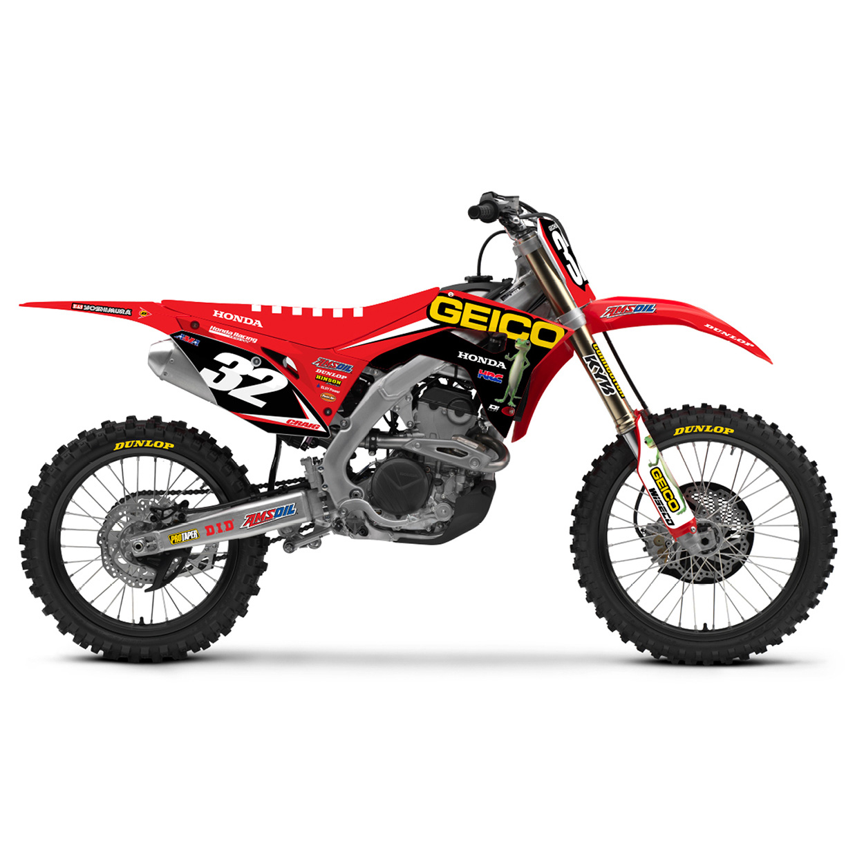 D'cor 2018 Team Geico Honda Full Graphic Kit Honda CR125 CR250 CRF250 CRF450 Stickerset Dekor-Kit  Kit Déco Complet