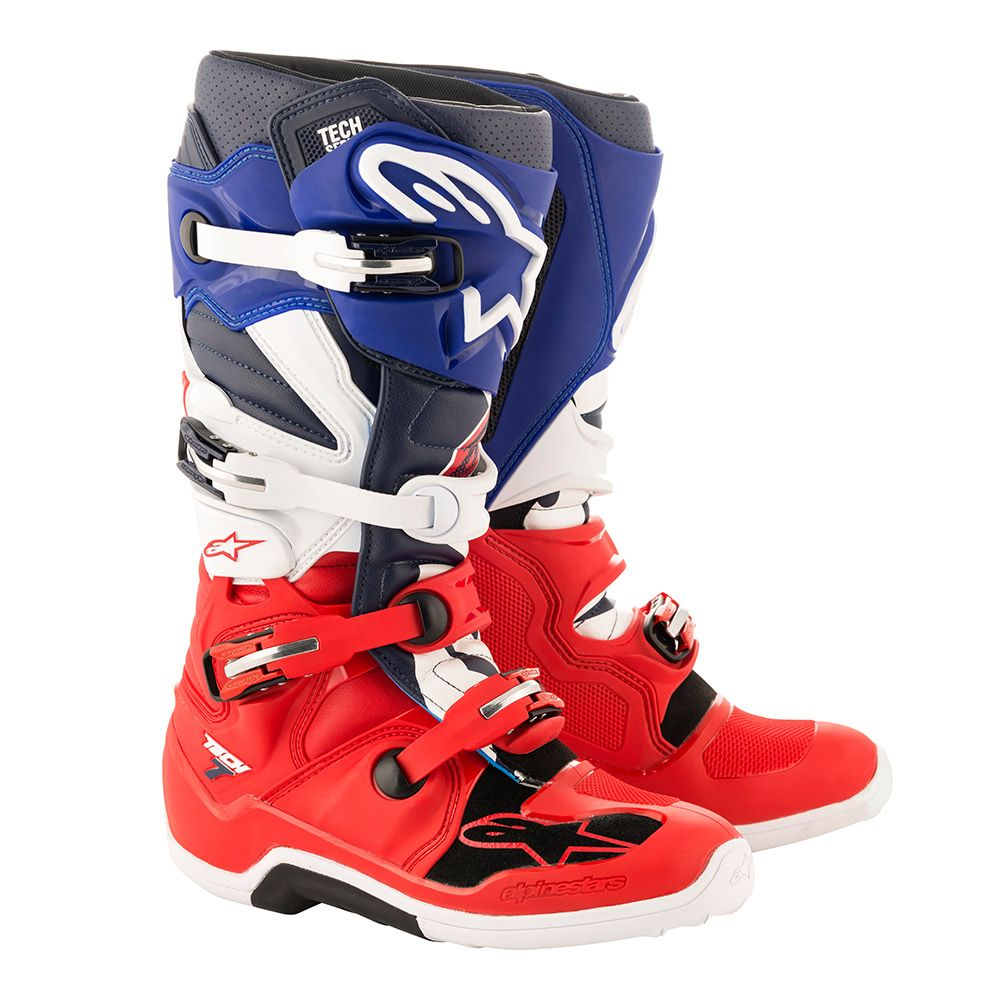 2012014-7063 2019 Alpinestars Tech 7 Limited Edition Union Boots Blue Navy Red Bottes Motocross Crosslaarzen Stiefel