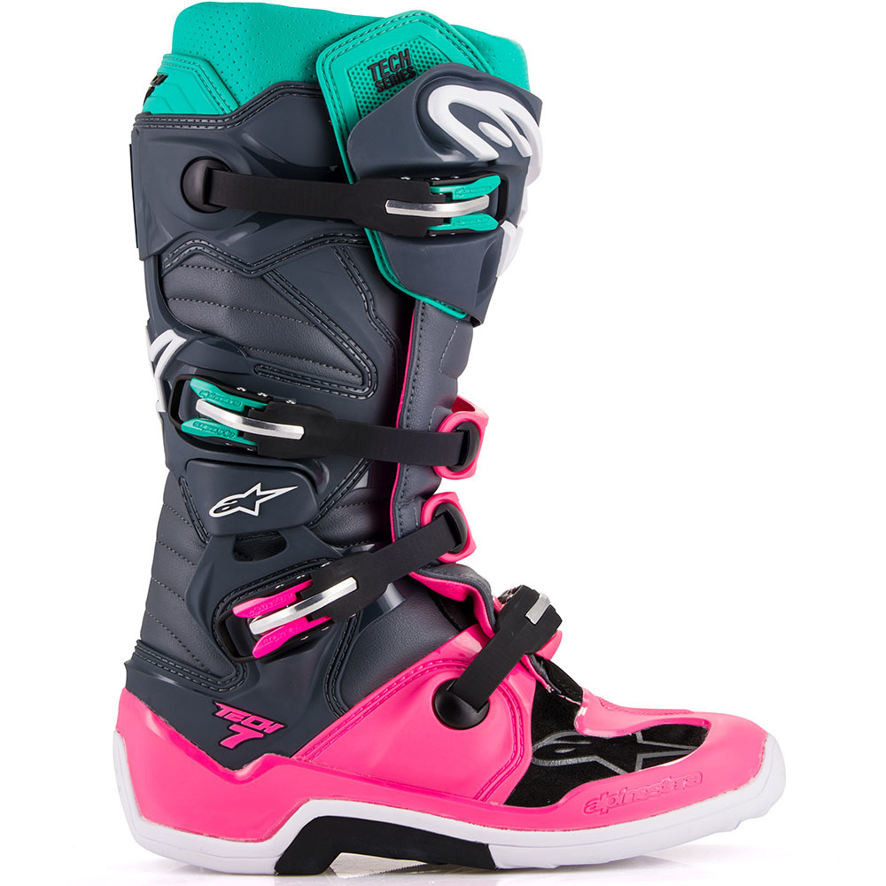 2012014 9397 Alpinestars Tech 7 Limited Edition Indy Vice Motocross Gray Pink Boots Laarzen Stiefel Bottes Stivali Botas