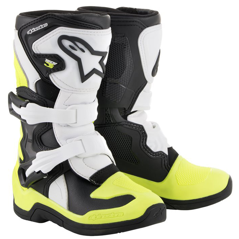 2014518 125 alpinestars tech 3s kids motocross boots black white yellow bottes enfant kinder stiefel crosslaarzen