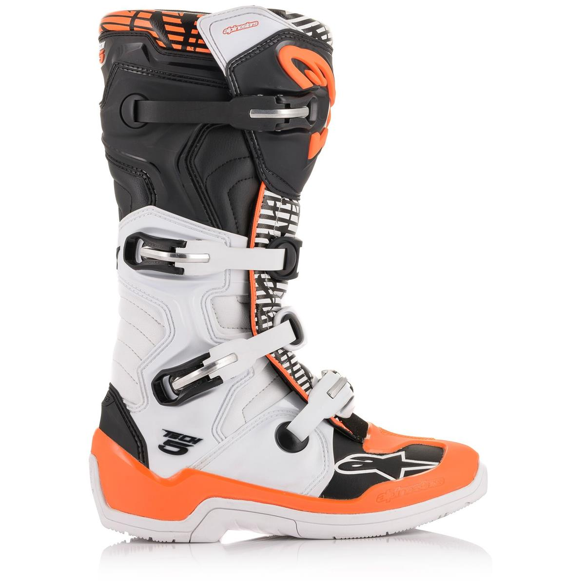 2015015 243 2020 Alpinestars Tech 5 Boots White Black Orange Fluo Motocross Enduro Laarzen Stiefel Bottes