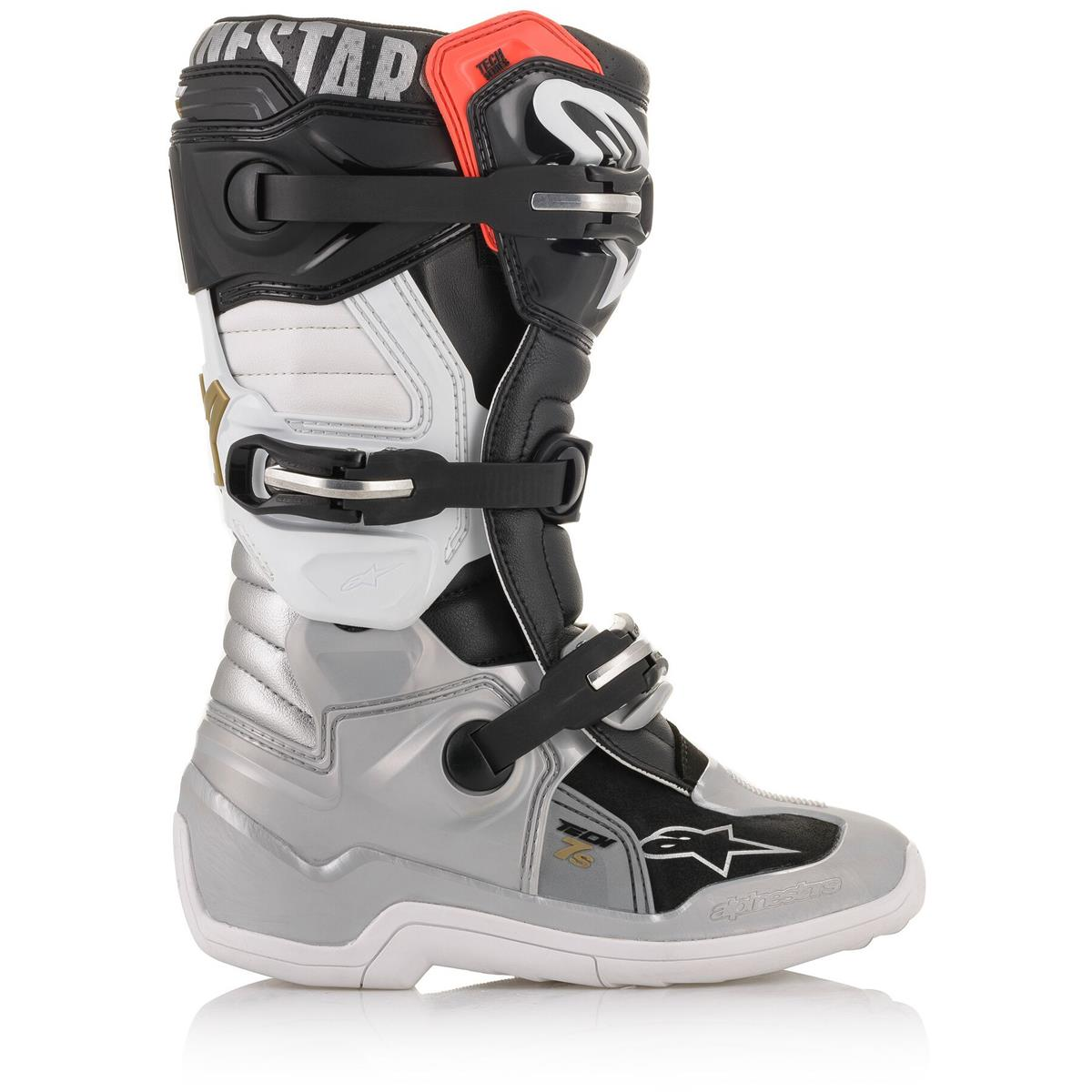 2015017 1829 2020 Alpinestars Youth Tech 7S Motocross Boots Black Silver White Gold Kinder Laarzen Stiefel Bottes Enfant