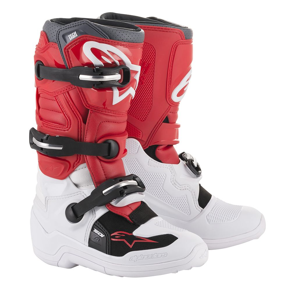 2015017 238 2020 Alpinestars Youth Tech 7S Motocross Boots White Red Grey Kinder Laarzen Stiefel Bottes Enfant