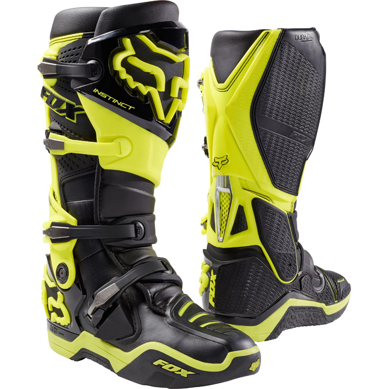 fox racing instinct boots black yellow sixstar racing. Black Bedroom Furniture Sets. Home Design Ideas