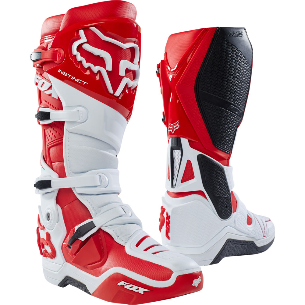 vestibilità classica a067a 292b5 Fox Racing Instinct Boots White Red | Sixstar Racing
