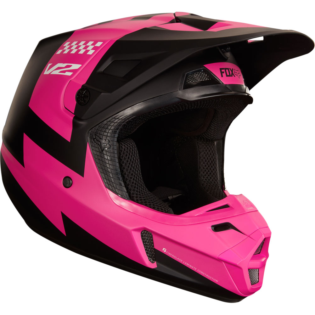 2018 fox racing v2 mastar helmet black pink sixstar racing. Black Bedroom Furniture Sets. Home Design Ideas