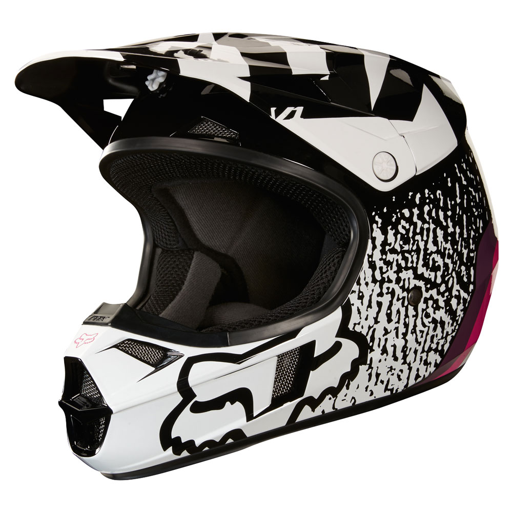 2018 Fox Racing Youth V1 Halyn Helmet Black Pink Sixstar Racing