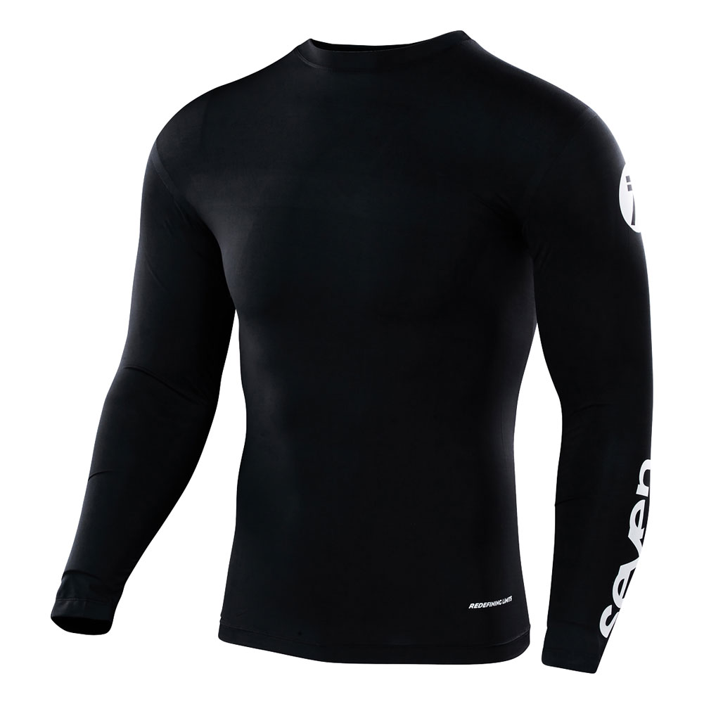 seven mx staple compression jersey shirt black maillot de compression trui