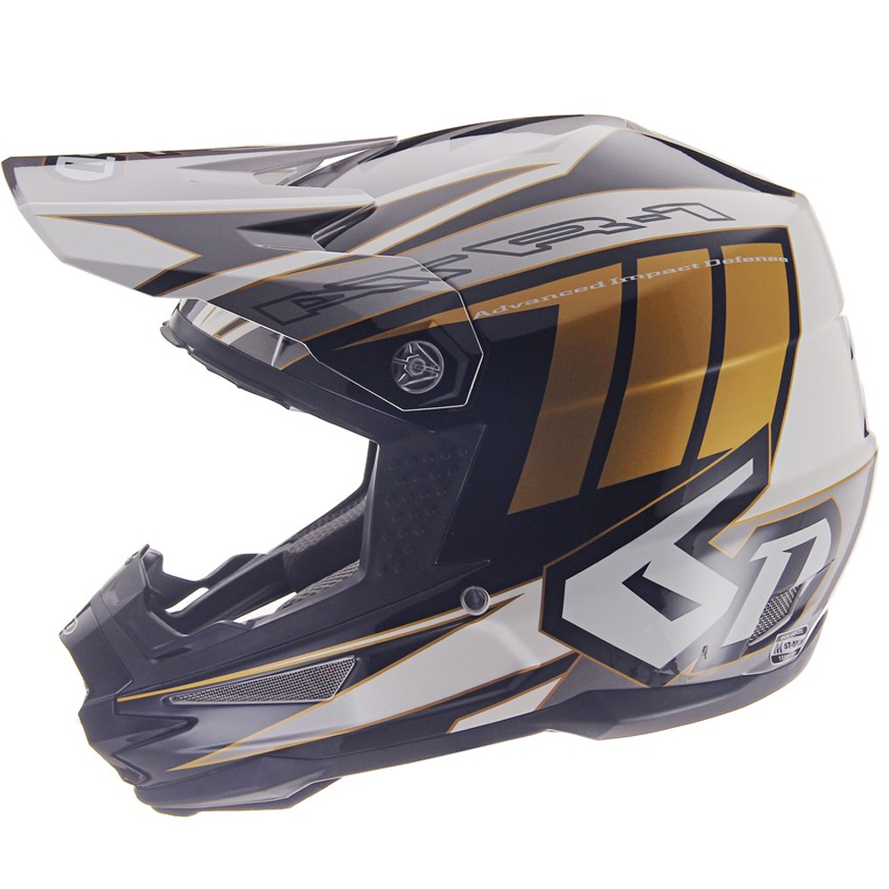 2019 6D Helmets ATR-1 Point White Gold Motocross Helmet Casque Enduro Blanc Or Crosshelm Weiss Helm Wit Goud