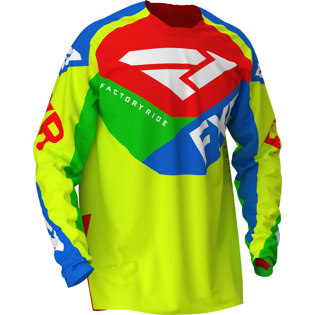 203307-6540 2020 FXR Racing Podium Air Jersey HiVis Yellow Blue Green Red Cross Trui Trikot Maillot