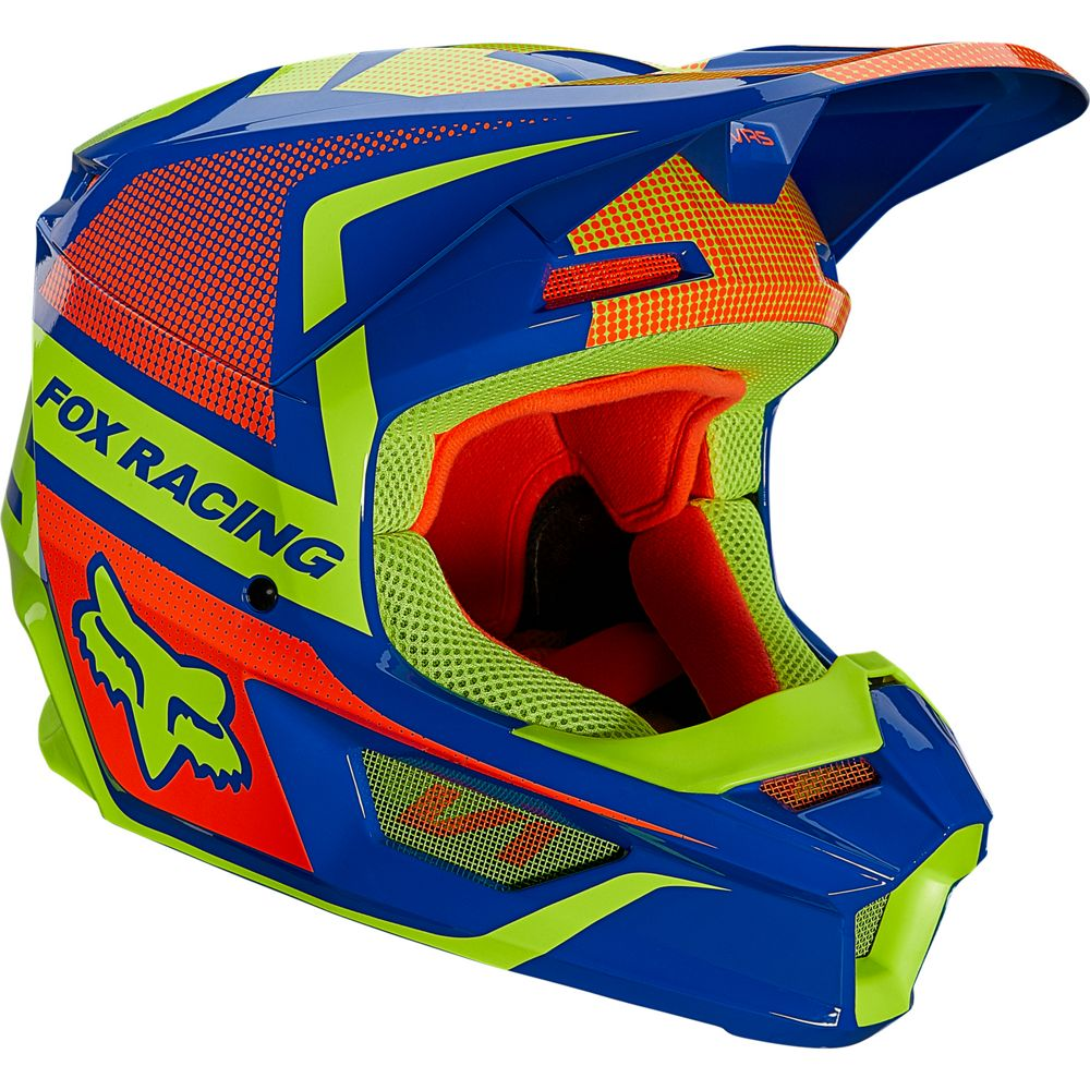 25824-002 2021 Fox Racing V1 Oktiv Helmet Blue Yellow Crosshelm Casque Cross Enduro Motocross Helm