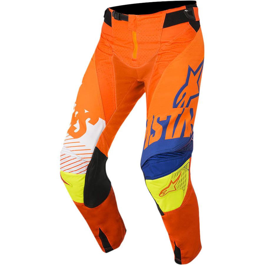 alpinestars 2018 techstar screamer orange blue white yellow motocross enduro pants hose cross broek pantalon