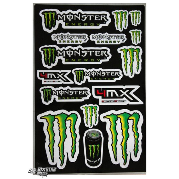 4mx monster energy logo sticker sheet stickervel planche de stickers Aufkleberbogen