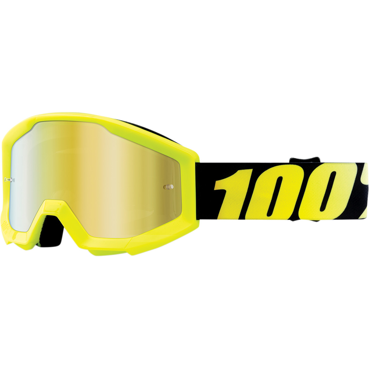 50510-004-02 100% Youth Strata Junior Goggle Neon Yellow Gold Mirror Lens Masque Cross Enfant Kinder Bril Kids Crossbrille