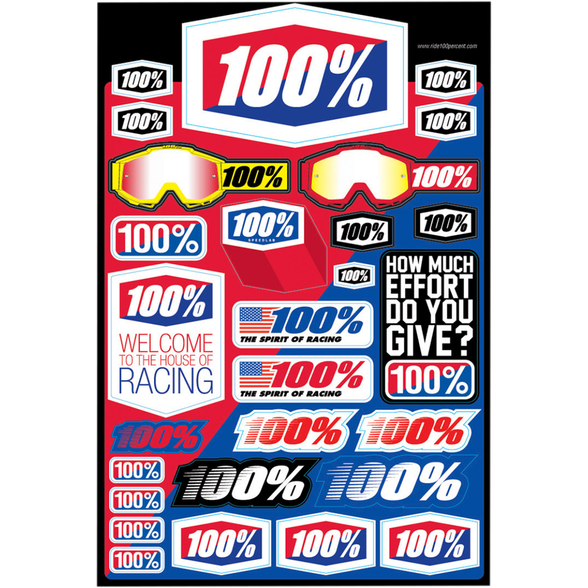 70000-011-01 100% Logo Decal Sticker Sheet Stickervel Logo Planche de Stickers Stickerbogen