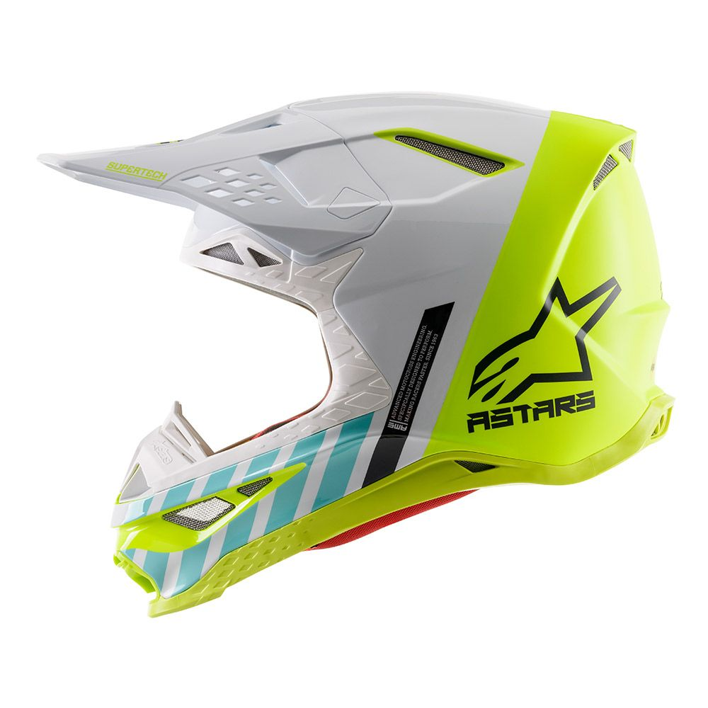 8301820 2057 2020 Alpinestars Supertech S-M8 Limited Edition Anaheim Helmet White Yellow Fluo Turquoise Magento Crosshelm Casque Cross Enduro Motocross Helm