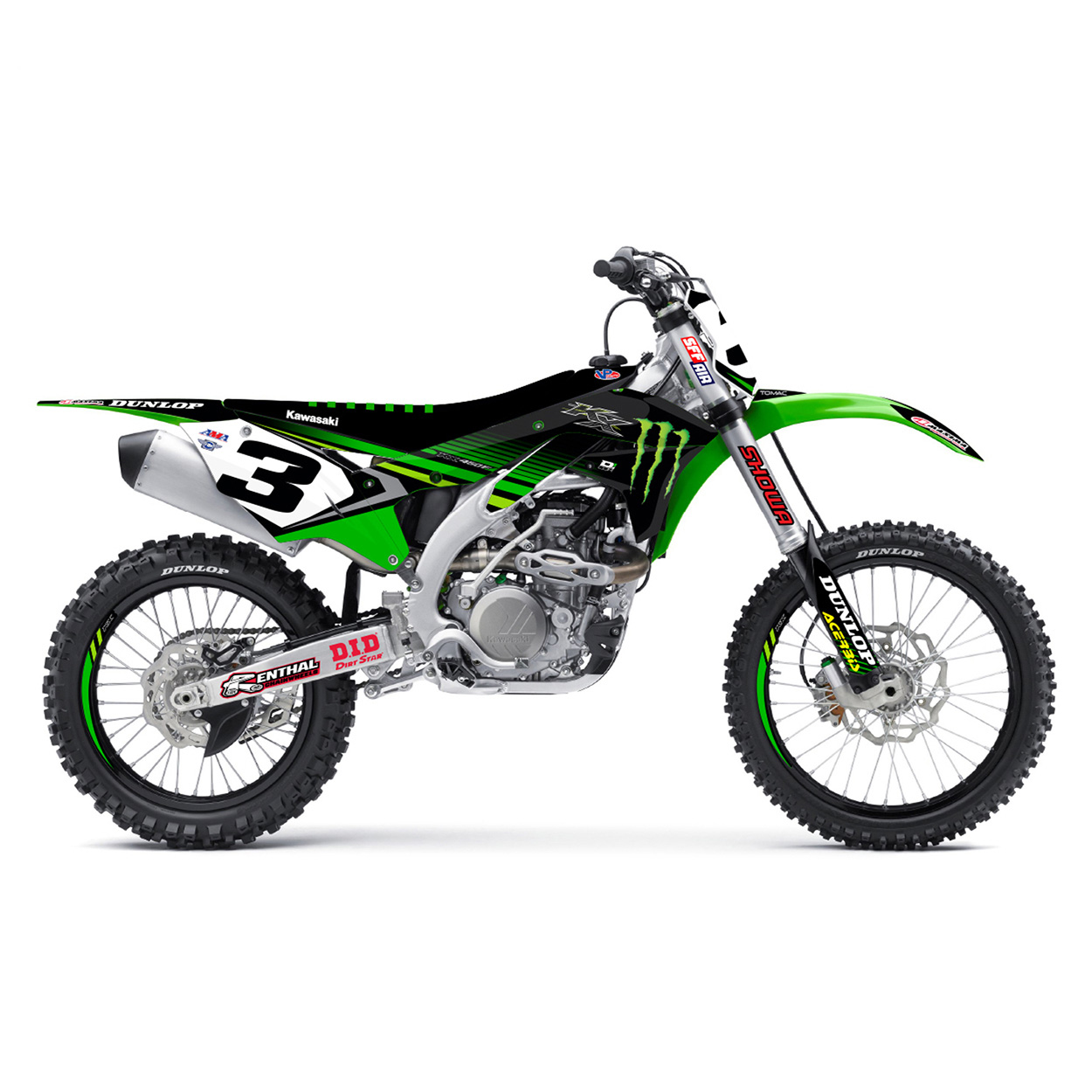 D'cor 2018 Team Monster Energy Full Graphic Kit Kawasaki KX125 KX250 KX250F KX450F Stickerset Dekor-Kit  Kit Déco Complet