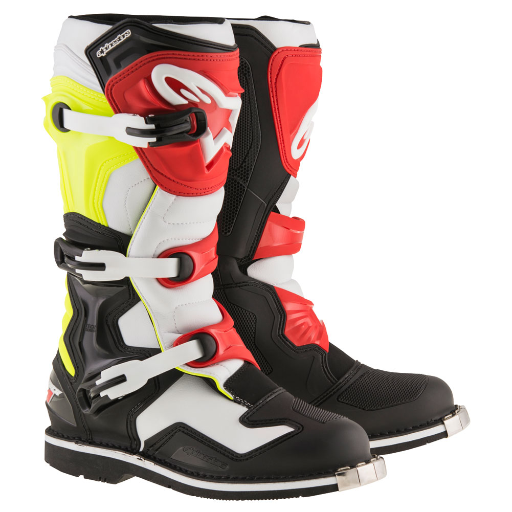alpinestars tech 1 boots black white yellow fluo red sixstar racing. Black Bedroom Furniture Sets. Home Design Ideas