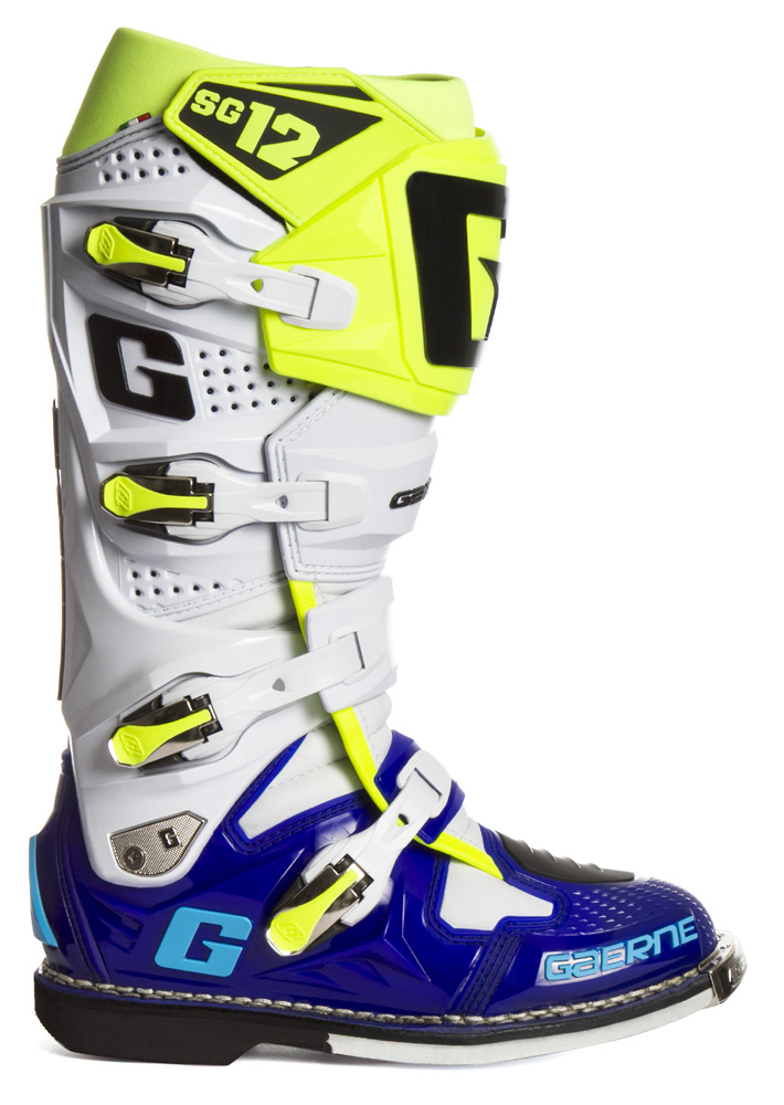 gaerne sg12 le boots blue white neon yellow sixstar racing. Black Bedroom Furniture Sets. Home Design Ideas