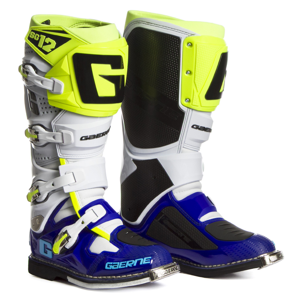 White Racing YellowSixstar Boots Neon SG12 Blue Gaerne LE TKJ31culF