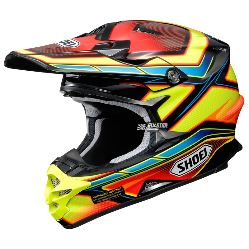 shoei vfx w capacitor tc 3 helmet yellow red sixstar racing. Black Bedroom Furniture Sets. Home Design Ideas