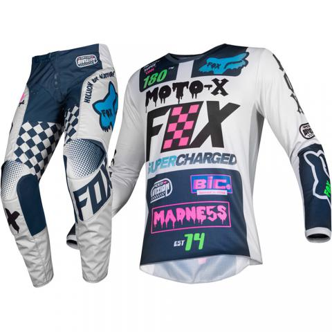 2019 Fox Racing Kids 180 Czar Light Grey Gear Kit Combo Motocross Equipement Enfants Tenue Kinder Combo Crosskleding