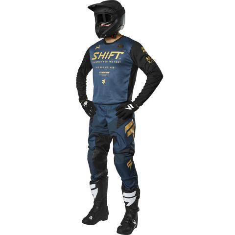 2019 Shift MX White Label Muse Navy Gear Kit Combo Equipement Tenue Motocross Outfit Crosskleding